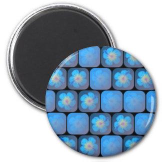 Hibisco en gel azul imán redondo 5 cm