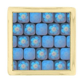 Hibisco en gel azul insignia dorada
