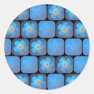Hibisco en gel azul pegatina redonda