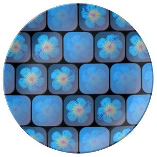 Hibisco en gel azul platos de cerámica