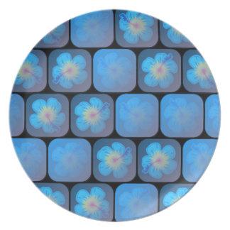 Hibisco en gel azul platos de comidas