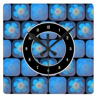 Hibisco en gel azul reloj cuadrado