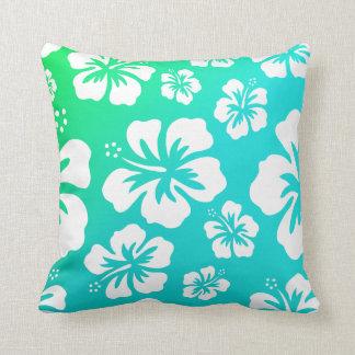 Hibisco en verde azul almohadas