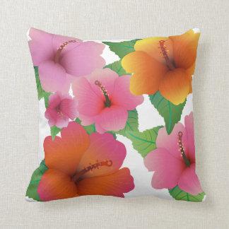 Hibisco exótico de la flor tropical cojín