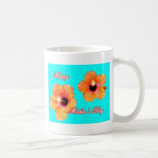 Hibisco feliz BG ciánica anaranjada del día de Taza De Café
