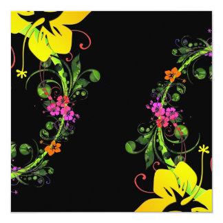 """Hibisco hawaiano abstracto oscuro invitación 5.25"""" x 5.25"""""""