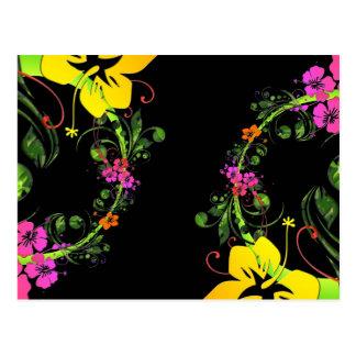 Hibisco hawaiano abstracto oscuro postal