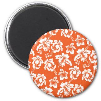 Hibisco hawaiano anaranjado imán redondo 5 cm