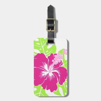 Hibisco hawaiano de la playa del Banzai floral Etiquetas De Maletas