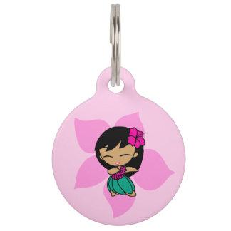 Hibisco hawaiano del chica de Hula de las mieles Placas Para Mascotas