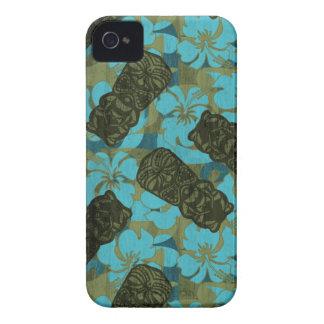 Hibisco hawaiano Tiki del refugio de Ali'i Case-Mate iPhone 4 Protectores