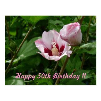 Hibisco Hibiscus 50. Cumpleaños aniversario Postales