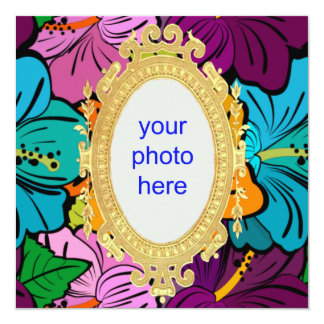 Hibisco Hula Invitación 13,3 Cm X 13,3cm