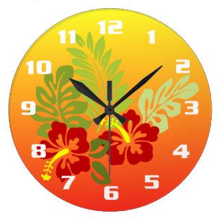 Hibisco inspirado retratamiento tropical y puesta reloj redondo grande
