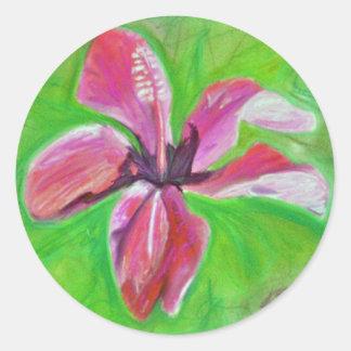 hibisco pegatina redonda