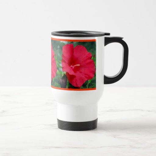 Hibisco pintado rojo taza