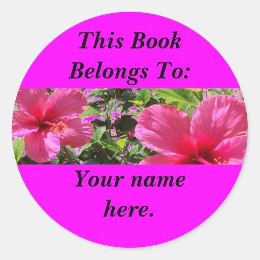 Hibisco, placas de libro etiquetas redondas