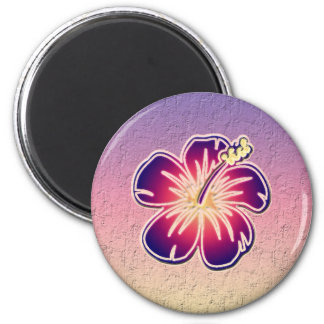 Hibisco púrpura imán redondo 5 cm