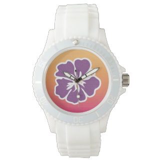 Hibisco púrpura Ombre Relojes De Pulsera