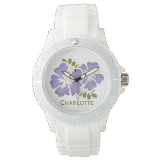 Hibisco púrpura personalizado relojes de mano