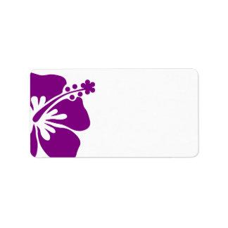 Hibisco púrpura que casa la etiqueta de dirección