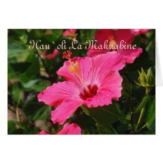 Hibisco rayado de madre del rosa feliz hawaiano tarjeta de felicitación