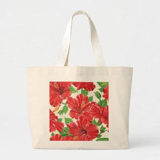 Hibisco rojo bolsa de tela grande