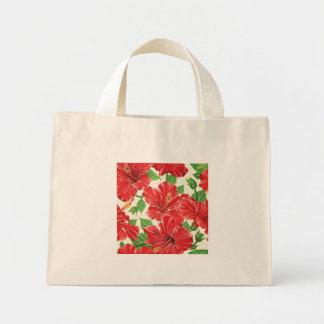 Hibisco rojo bolsa de tela pequeña