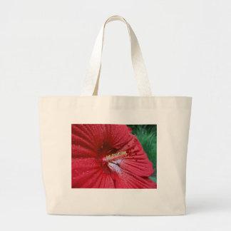 Hibisco rojo con las gotas de agua bolsa tela grande