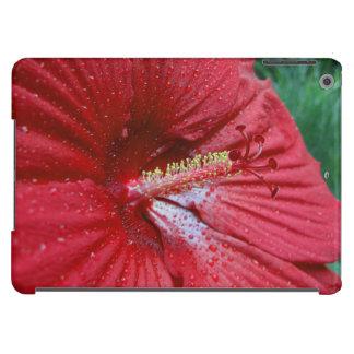 Hibisco rojo con las gotas de agua funda para iPad air