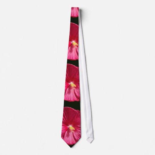 Hibisco rojo del crespón corbatas personalizadas