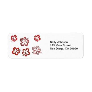Hibisco rojo del navidad etiqueta de remite