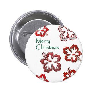 Hibisco rojo del navidad pin redondo 5 cm
