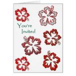 Hibisco rojo del navidad tarjetas