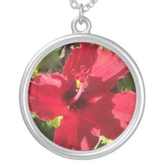 Hibisco rojo en Hawaii Colgante Redondo