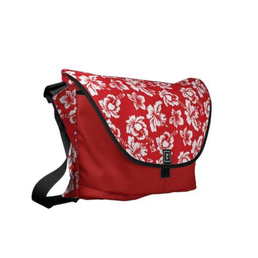 Hibisco rojo hawaiano bolsas de mensajería