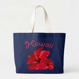 Hibisco rojo hawaiano en la marina de guerra bolsa de tela grande
