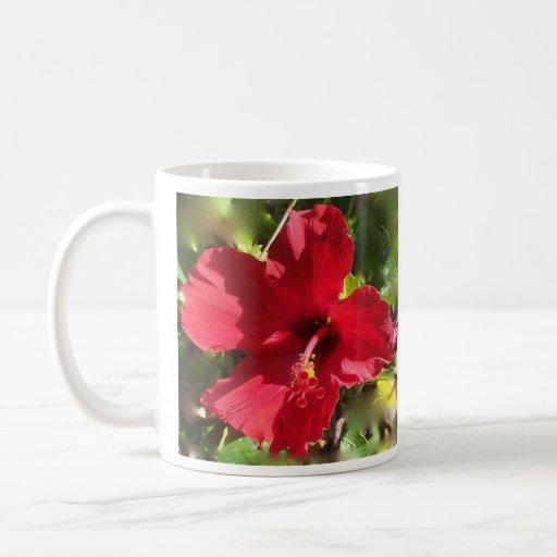 Hibisco rojo Hawaii Taza Clásica