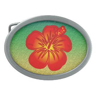 Hibisco rojo hebilla cinturón oval