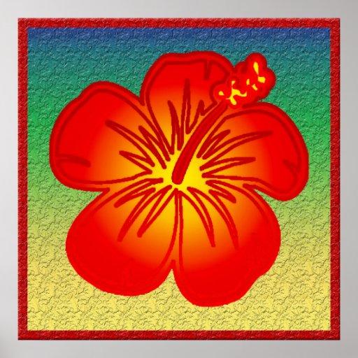 Hibisco rojo impresiones