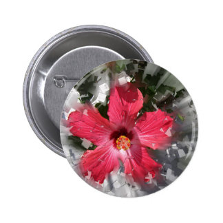 Hibisco rojo pin redondo 5 cm