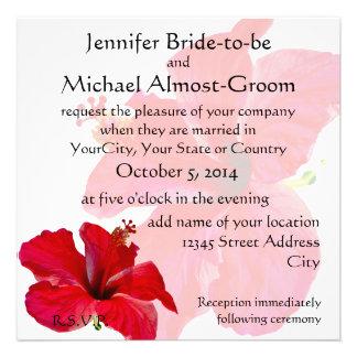 Hibisco rojo romántico invitación