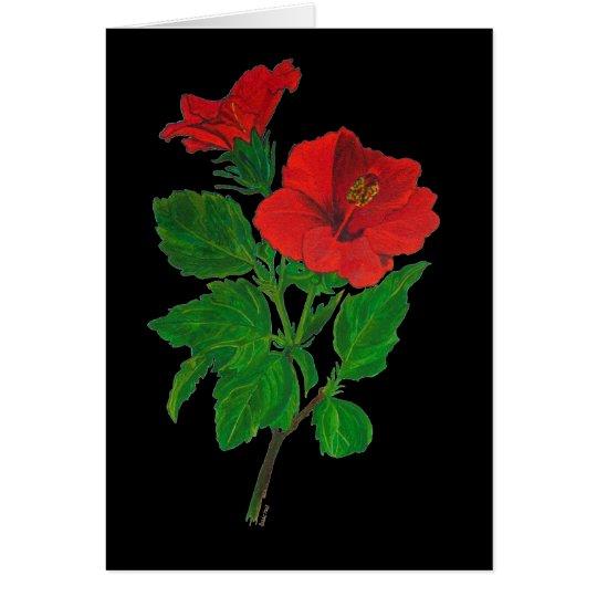 Hibisco rojo tarjeta de felicitación