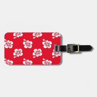 Hibisco rojo y blanco floral etiqueta de maleta