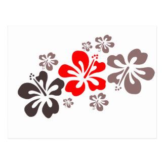 Hibisco rojo y gris tarjetas postales