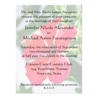 Hibisco romántico del rojo del boda invitación