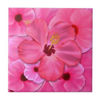 Hibisco rosado azulejo cuadrado pequeño