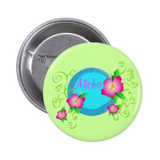 Hibisco rosado - botón del Pin
