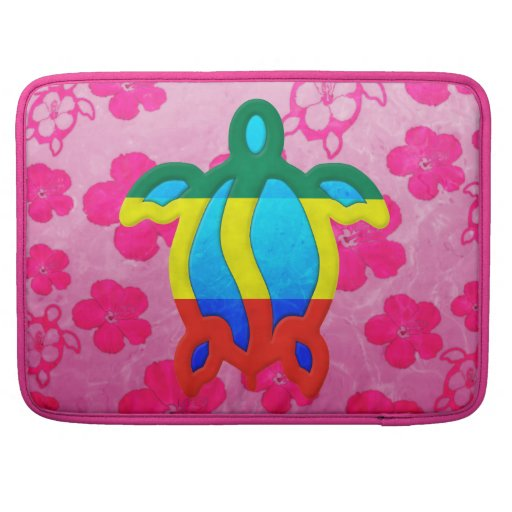 Hibisco rosado de Rasta Honu Fundas Para Macbooks