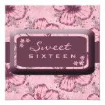 Hibisco rosado del vintage invitaciones personalizada